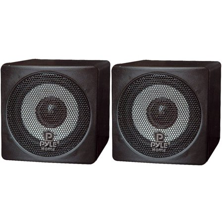 Pyle 3 100 Watt Black Mini Cube Bookshelf Speaker In Pair