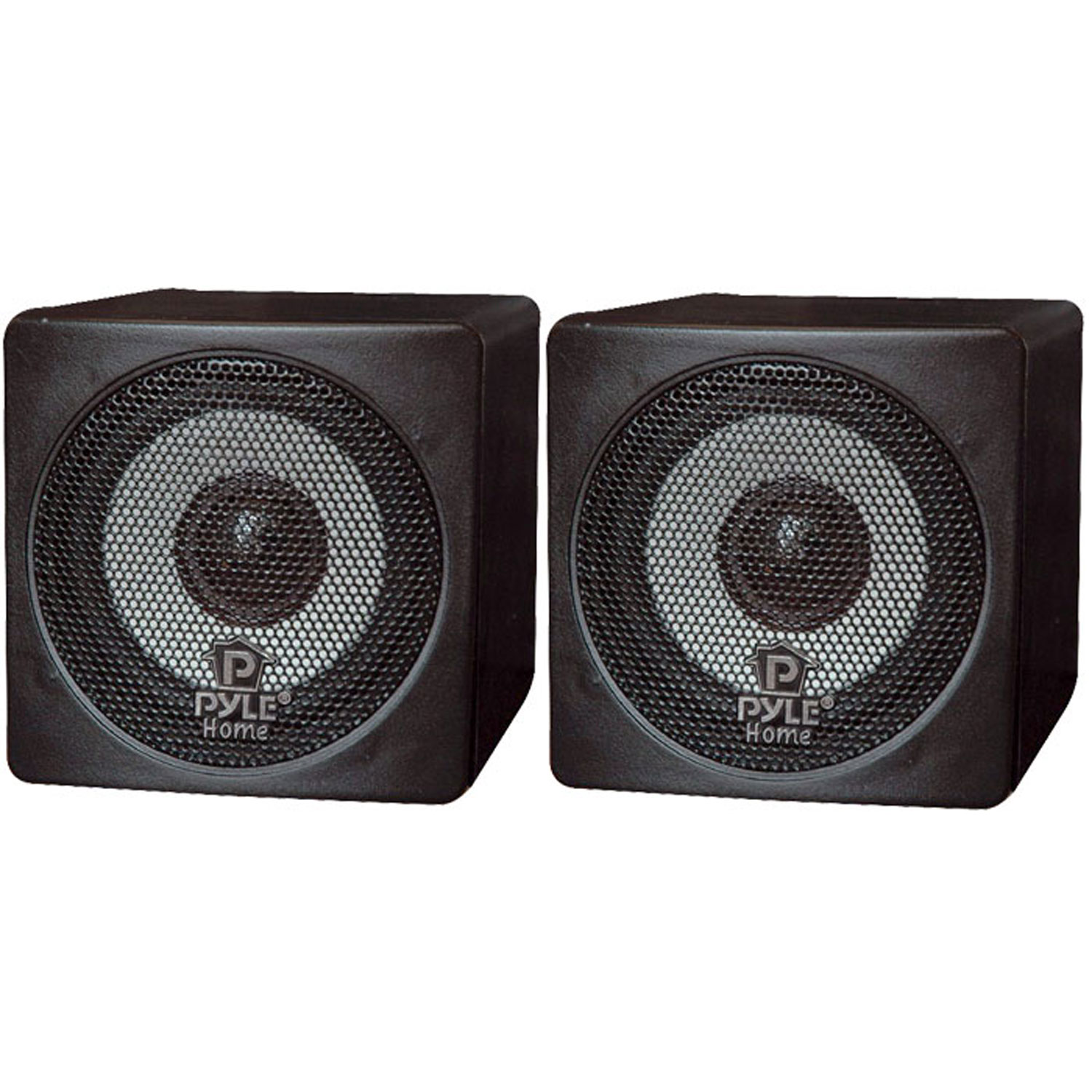 "Pyle 3"" 100 Watt Black Mini Cube Bookshelf Speaker In Black (Pair) (Pair)"