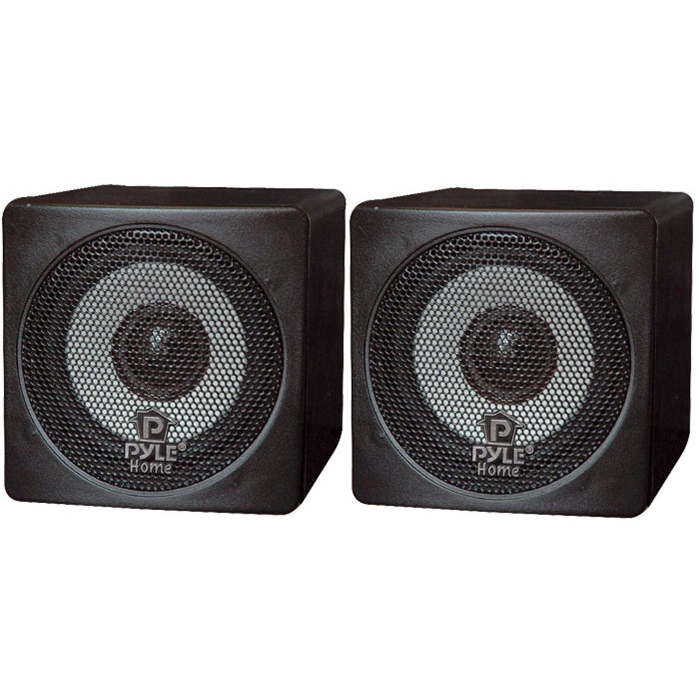 "Pyle 3"" 100 Watt Black Mini Cube Bookshelf Speaker In Black (Pair)"