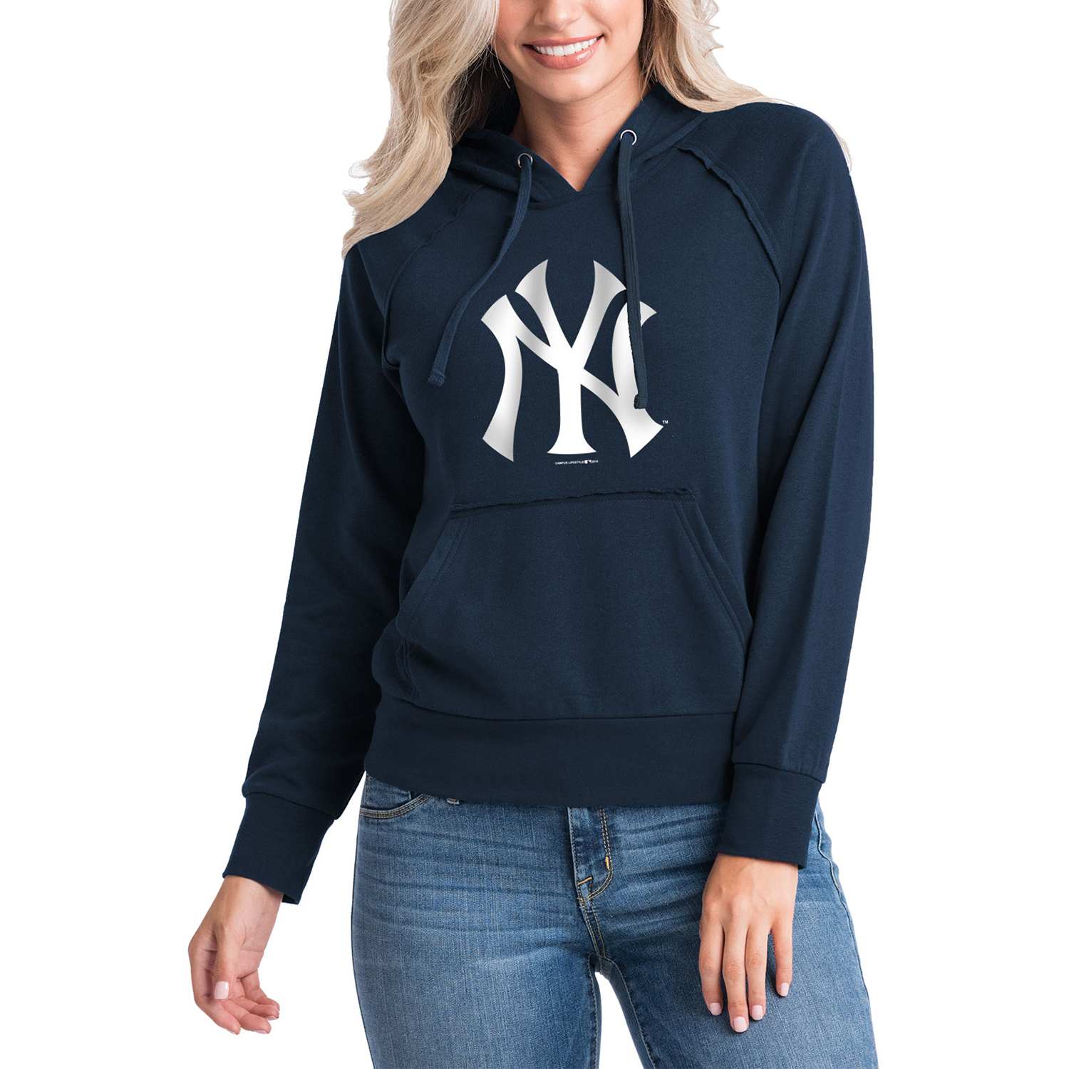 new product c06ce c4ce2 Women's 5th & Ocean by New Era Navy New York Yankees Team Pullover Hoodie