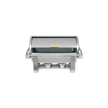 Update International (RTC-8) 8 Qt Stainless Steel Rectangular Gold-Accented Roll-Top Chafer