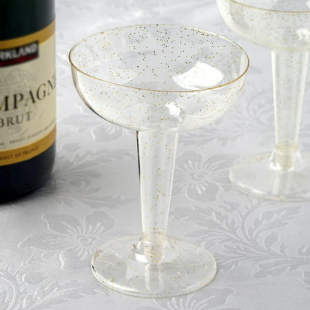 BalsaCircle Glittered Clear 12 pcs 6 oz Disposable Plastic Champagne Glasses - Wedding Reception Party Catering - Wedding Party Glasses