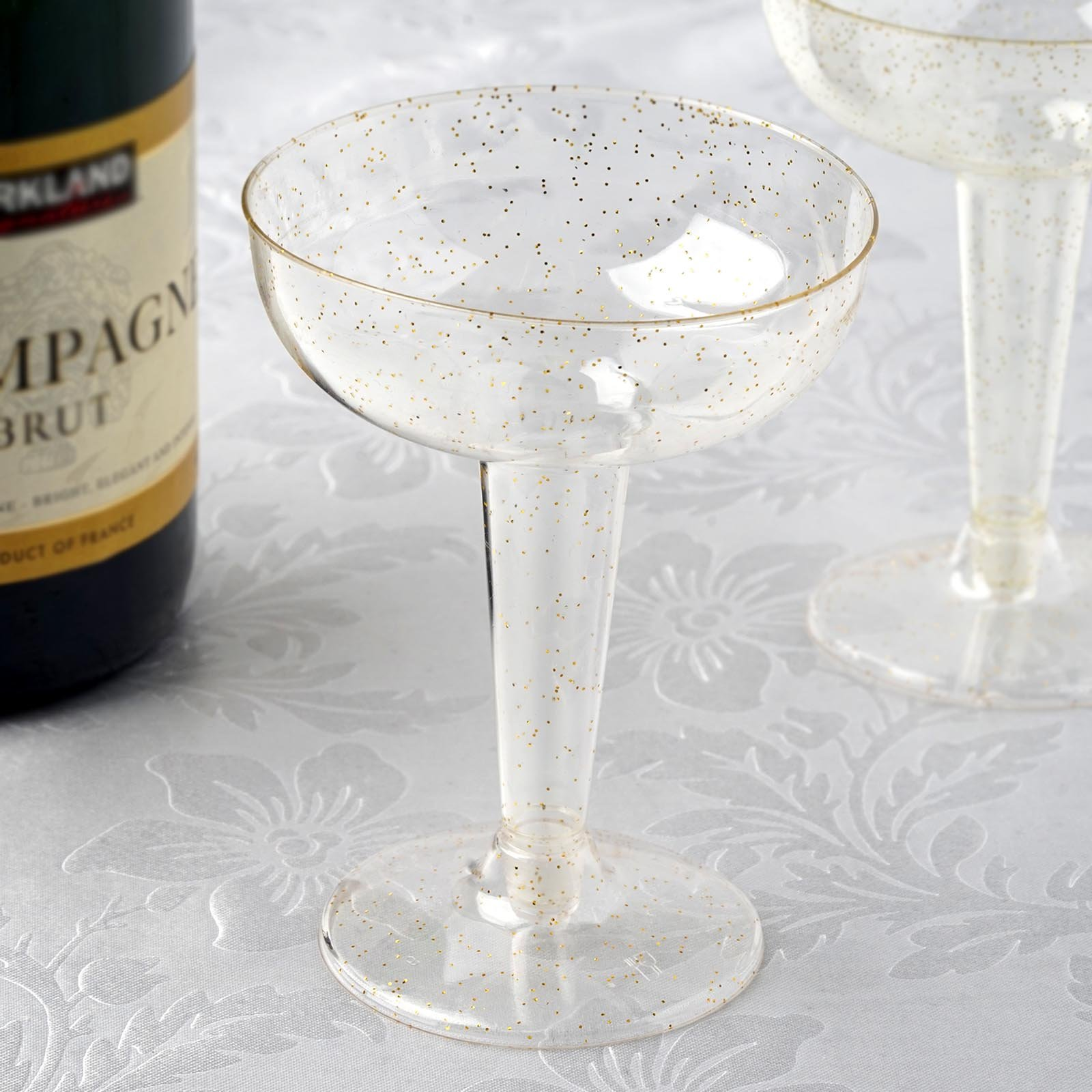 BalsaCircle Glittered Clear 12 pcs 6 oz Disposable Plastic Champagne Glasses - Wedding Reception Party Catering Tableware