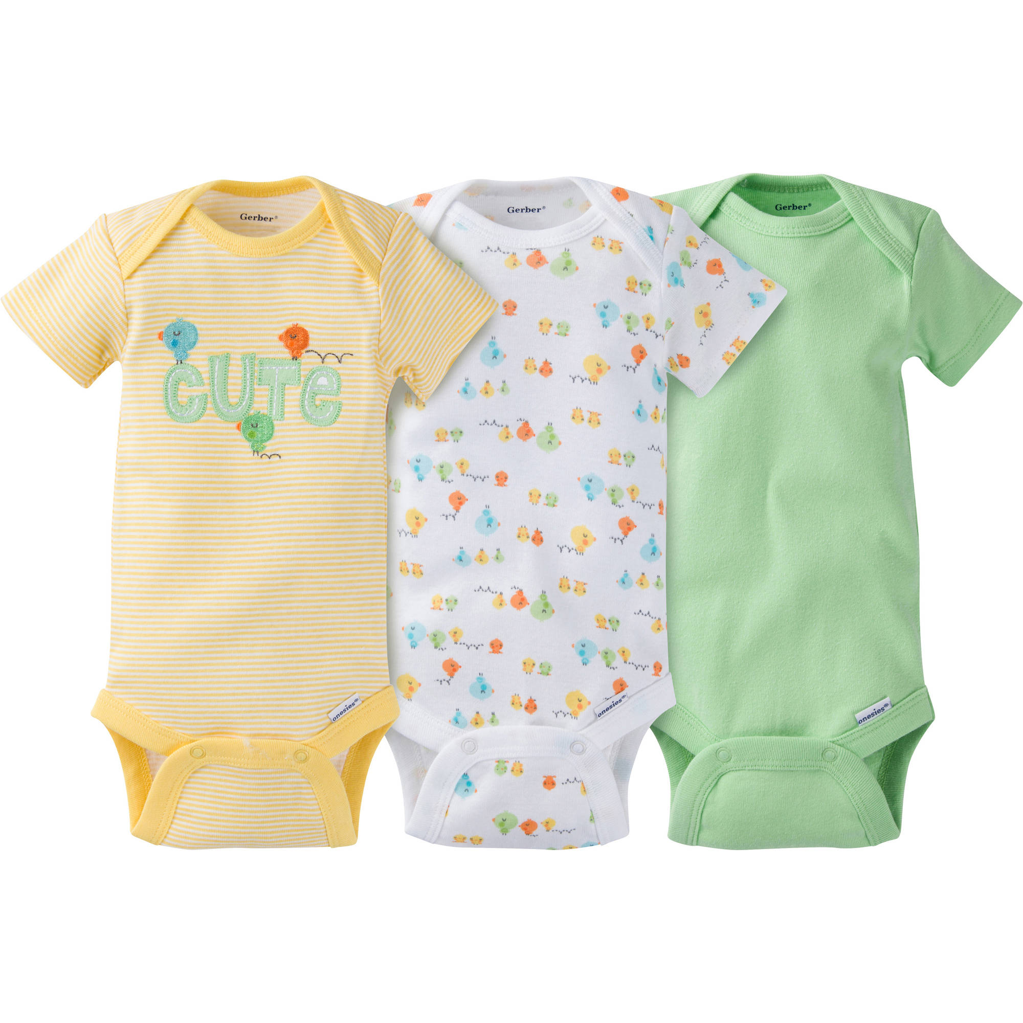 Gerber Newborn Baby Boy or Girl Unisex Onesies Bodysuits Assorted, 3-Pack