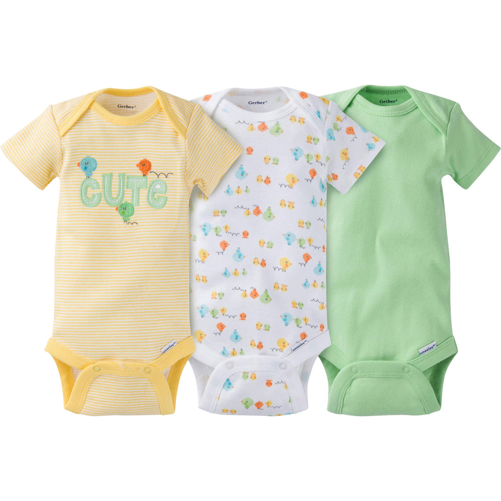 Gerber Newborn Baby Boy or Girl Unisex Onesies Bodysuits Assorted, 3-Pack