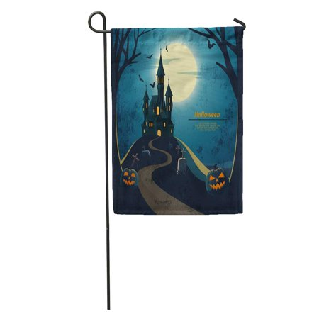 KDAGR Blue Haunted Halloween Landscape Castle and Cemetery House Scary Creepy Garden Flag Decorative Flag House Banner 28x40 inch - Haunted Castles Germany Halloween