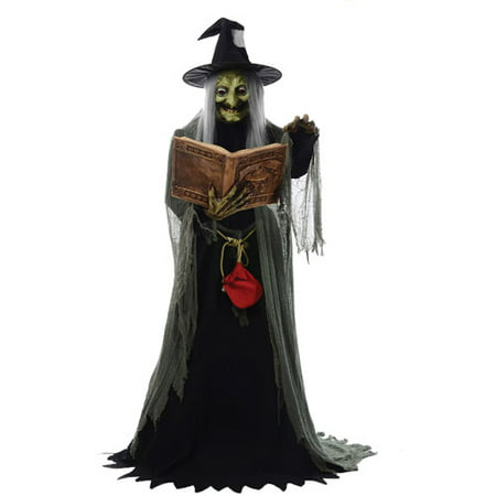 5' Animated Spell Casting Witch with Lights & Sound Halloween Decoration - Graveyard Decorations Halloween