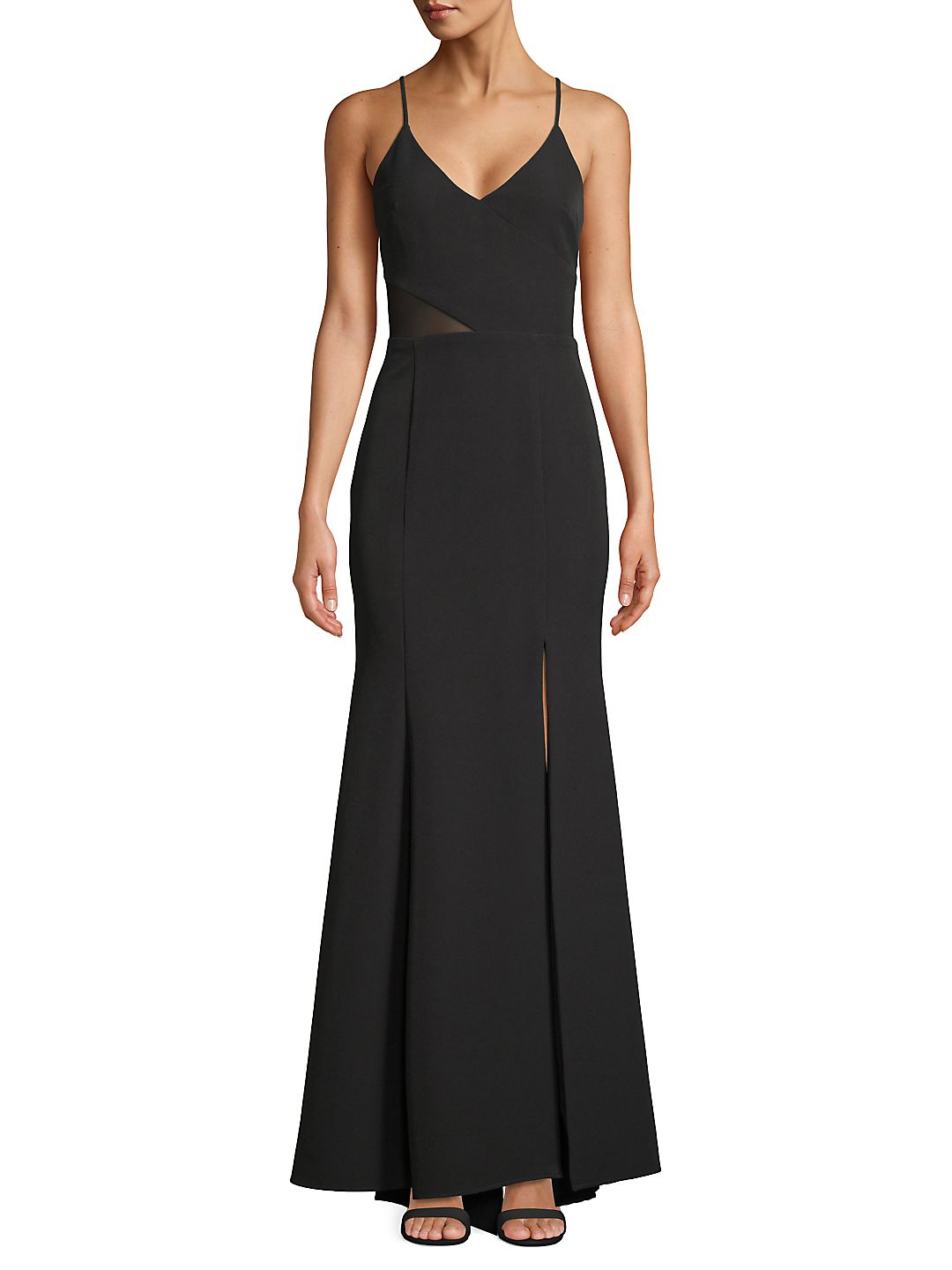 Sleeveless Illusion Side Evening Gown