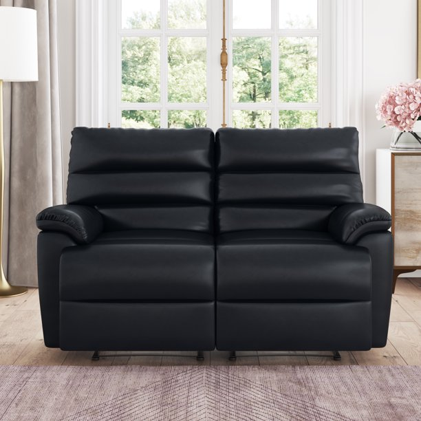 Bristol Recliner Loveseat in Faux Leather, Black