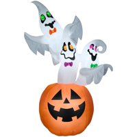 Airblown 83.85-in Inflatable Ghost Trip Sign On JOL Pumpkin