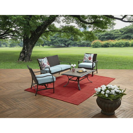 Better Homes & Gardens Piper Ridge 4 Piece Outdoor Conversation Set with Blue Cushions