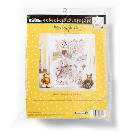 "Bucilla 34"" x 43"" Baby Stamped Cross-Stitch Mother Goose Crib Cover Kit, 1 Each"