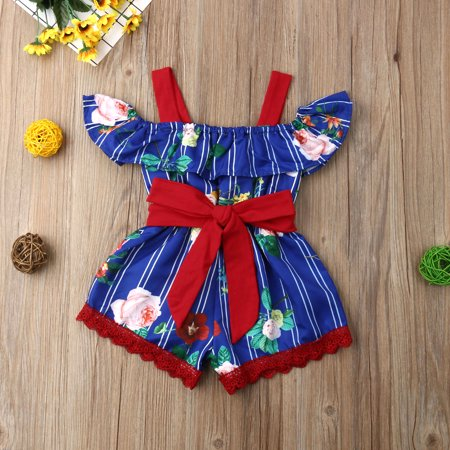 Infant Toddler Kids Baby Girls Suspender Romper Off Shoulder Summer Short Overalls Bow Ruffled (Infant Baby Fleece Bubble Romper)