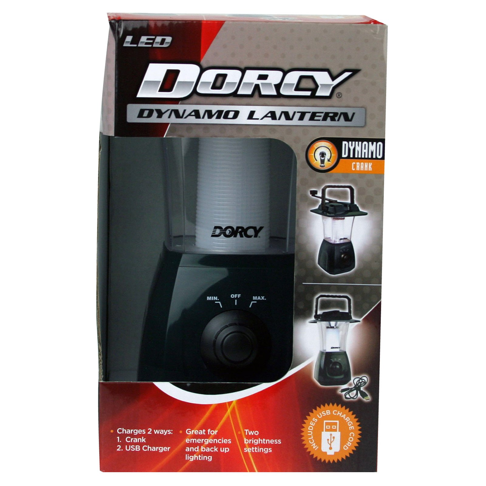 Dorcy 41-4268 Crank and USB Charging LED Lantern with Integrated Rechargeable Batteries, Green Finish