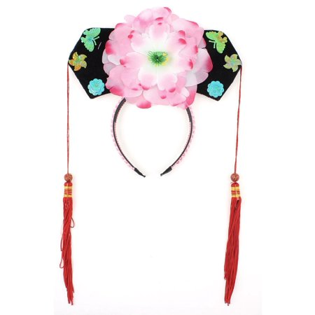 Unique Bargains Girls Pink Floral Decor Oriental Chinese Princess Hairband Hat Headdress