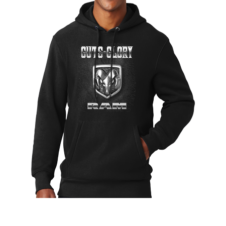 Mens Dodge RAM Guts and Glory Super Heavyweight Hoodie - Black, Extra