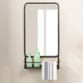 Better Homes Gardens Rustic Farmhouse Vanity Mirror With Shelf Walmart Com Walmart Com