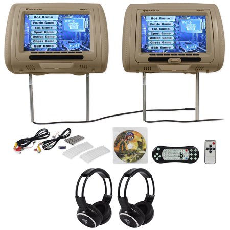 "Rockville RDP931-BG 9"" Beige Car DVD/HDMI Headrest Monitors+2 Wireless Headsets ()"