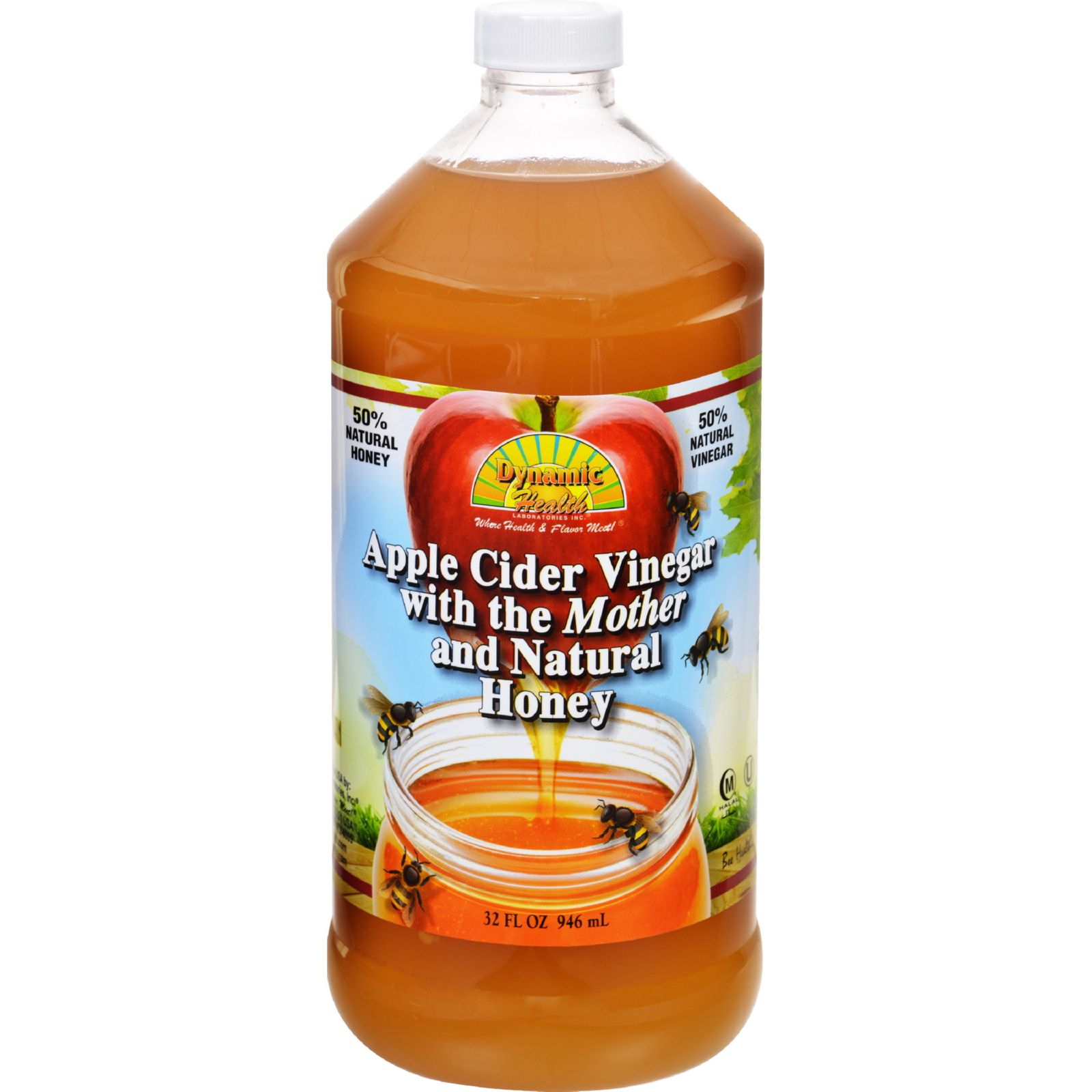 Dynamic Health Apple Cider Vinegar with the Mother and Natural Honey Plastic Bottle 32 oz by Dynamic Health Labs.