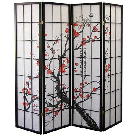 ORE International Panel Room Divider Plum Blossom Walmartcom - 4 panel room divider