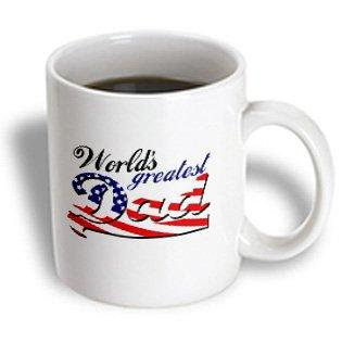 3dRose Worlds greatest dad with USA American flag - good for fathers day or as a general best daddy gift, Ceramic Mug,