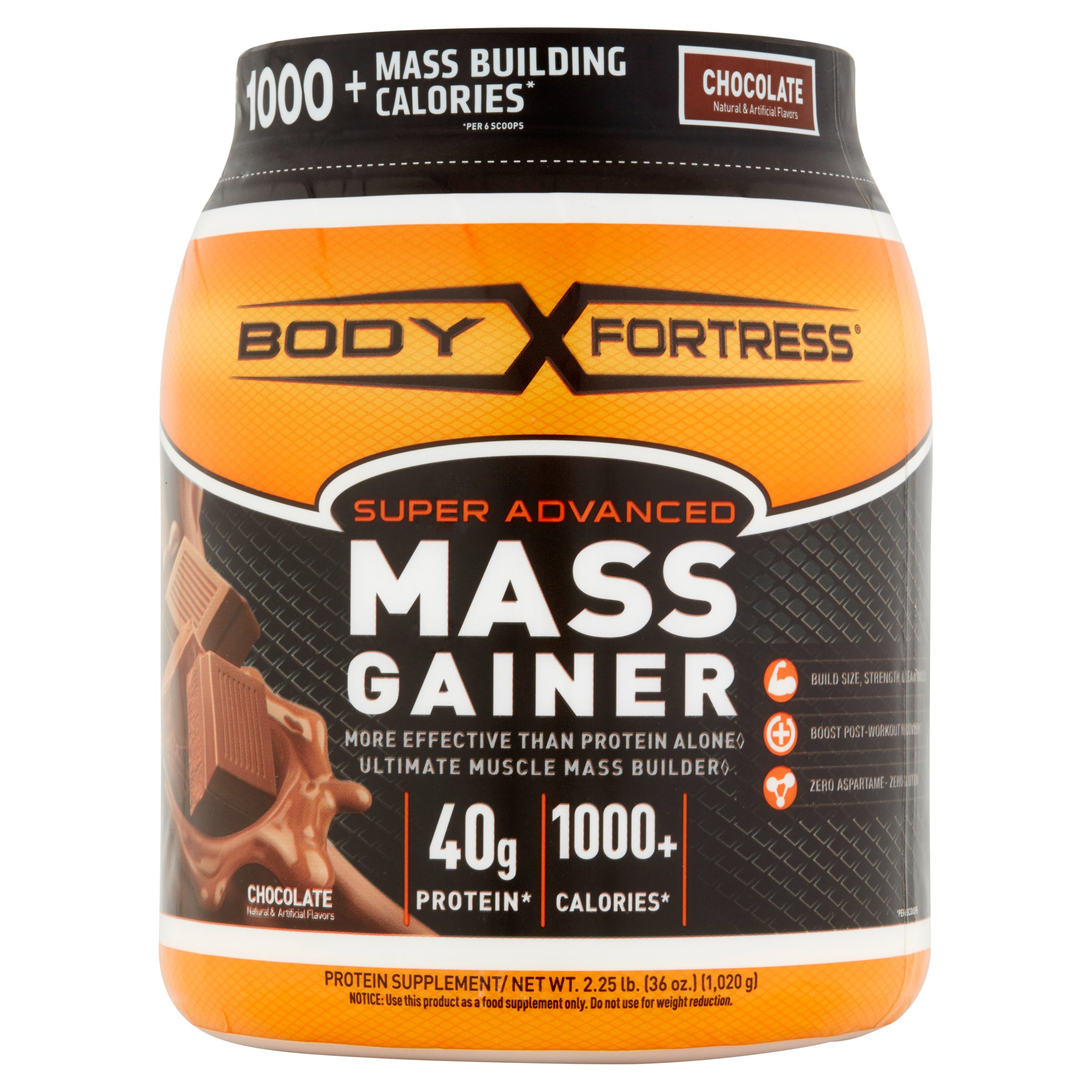 Body Fortress Super Advanced Mass Gainer Protein Powder, Chocolate, 40g Protein, 2.25 Lb
