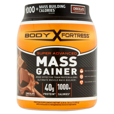 Body Fortress Super Advanced Mass Gainer Protein Powder, Chocolate, 40g Protein, 2.25 (Mast Cylinder)