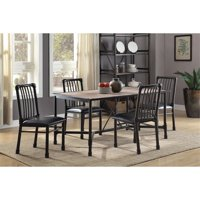 ACME Furniture Caitlin 5 Piece Dining Set in Rustic Oak and Black