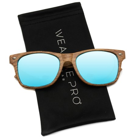 WearMe Pro - Faux Wood Reflective Revo Color Lens Horn Rimmed Style (Sunglasses With Printed Lenses)