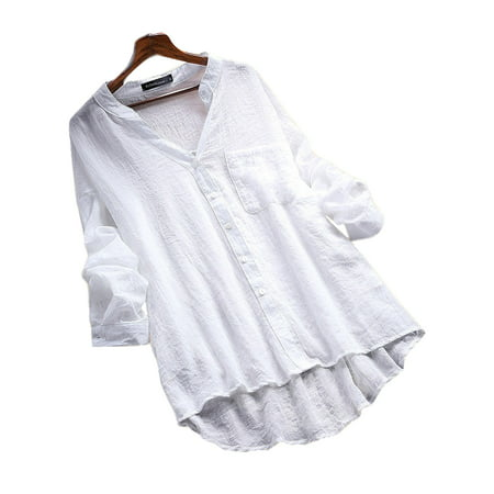 White Button Front Shirt (Women's Button Down Long Sleeve See-through Casual Shirt Blouse)