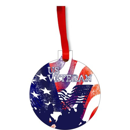 Flag U.S. Veteran - United States Army Veteran American Flag Round Shaped Flat Hardboard Christmas Ornament Tree Decoration - Unique Modern Novelty Tree Décor Favors ()