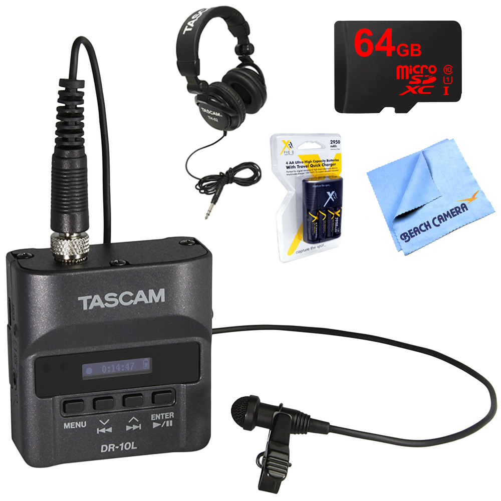 Tascam Portable Digital Studio Recorder with Lavaliere Microphone (DR-10L) with Professional Headphones, 64GB MicroSDXC Memory Card, AA Charger with 4 2950mah AA Batteries & 1 Piece Micro Fiber Cloth
