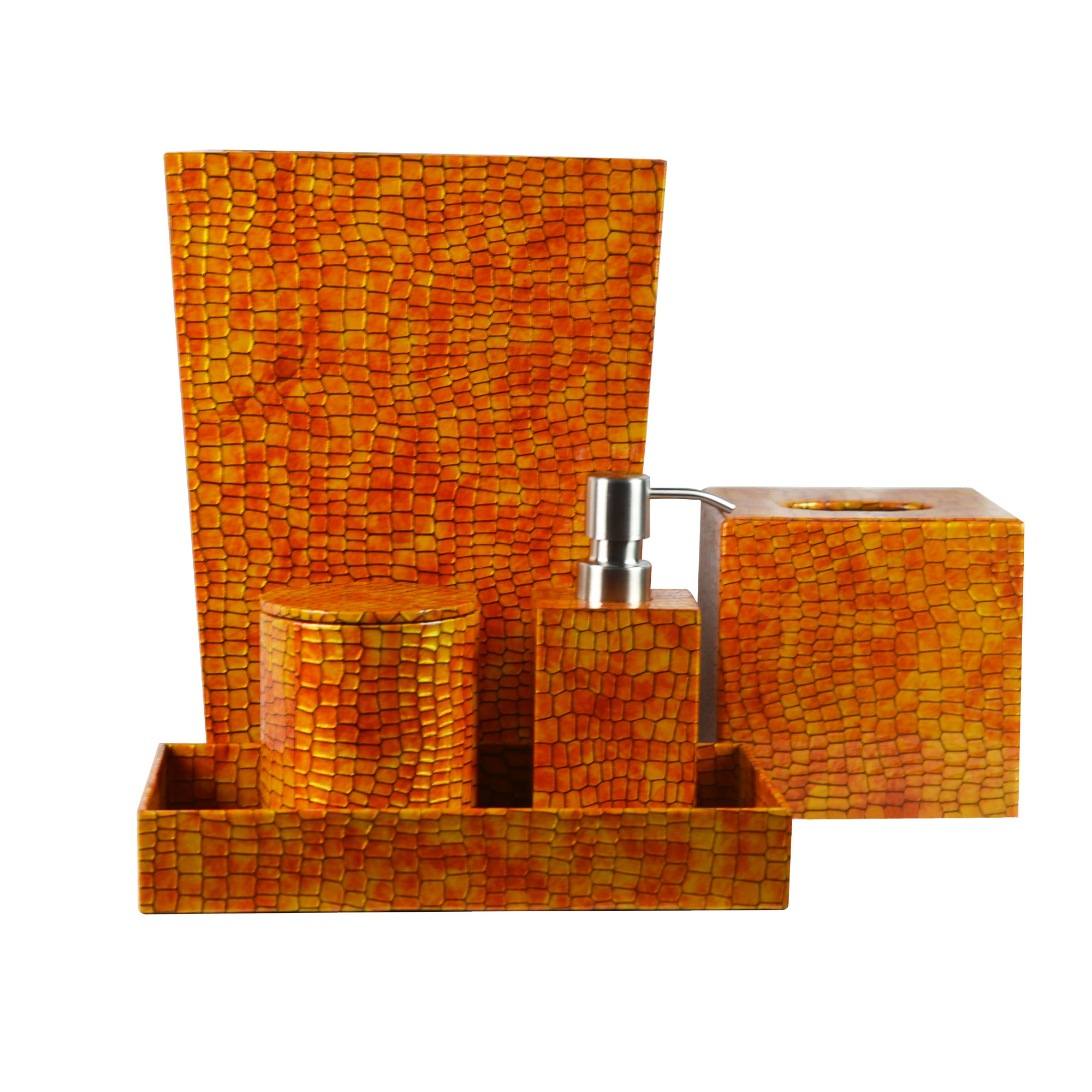 Genuine Leather 5-Piece Bath Set, Honey Comb, Shower and Bathroom Accessory by Overstock