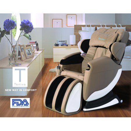 Tenive Full Body Zero Gravity Shiatsu Massage Chair Recliner Wheat