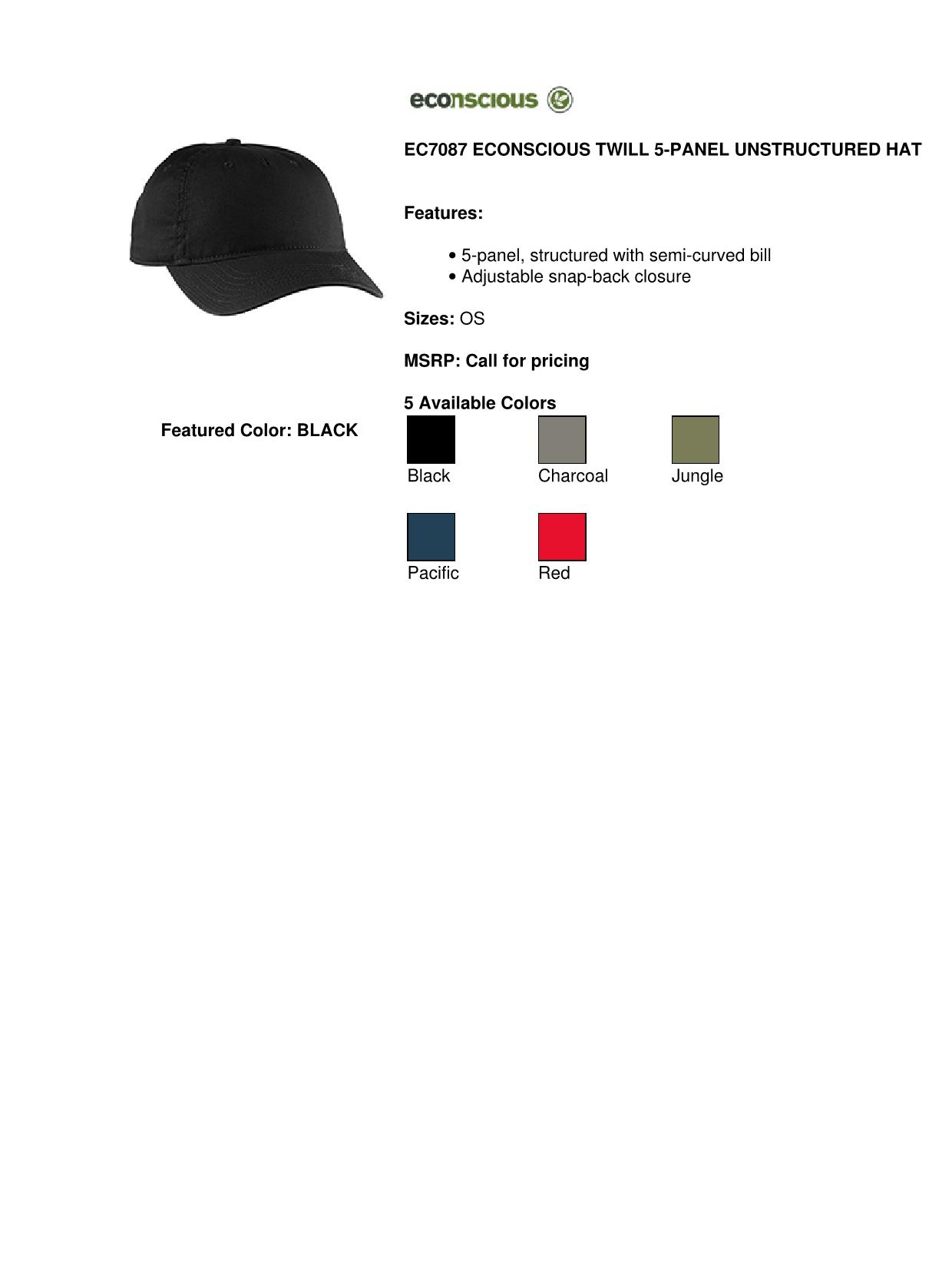 dcfd763e0c8fc econscious EC7087 Twill 5-Panel Unstructured Hat - Charcoal - One Size -  Walmart.com