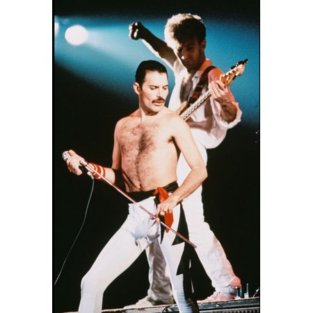 Queen 24x36 Poster iconic Freddie Mercury bare chest & Brian May in concert