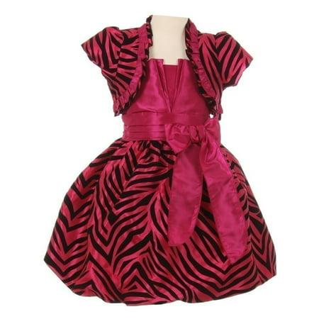 Girls Fuchsia Zebra Stripe Ribbon Tie Bolero Taffeta Christmas