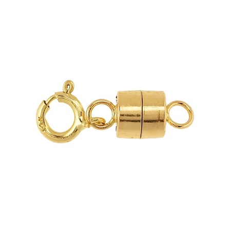 NEW SOLID 14K YELLOW GOLD Barrel Magnetic Converter Necklace Clasp with Spring Ring