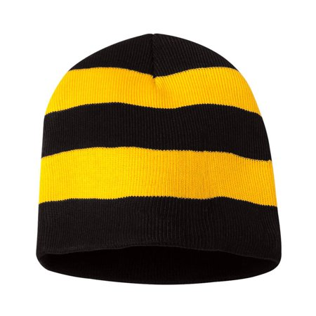 Striped Snowboard Beanie Hat (Knit Winter Rugby Striped Beanie Hats for Men & Women - Stay Warm & Stylish (Black/ Gold))