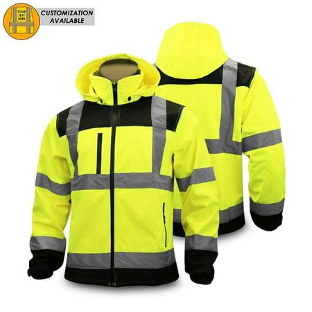 kwiksafety agent reflective hi visibility soft shell ansi class 3 safety jacket size: 2xl