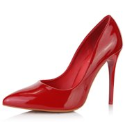 DailyShoes Women's Paris-01 Stiletto Pump High Heeled Closed Pointed-Toe Pointed Toe Dress Slip On Pumps Bridal Party Kitten Heels Shoes Heel Red Pt 8