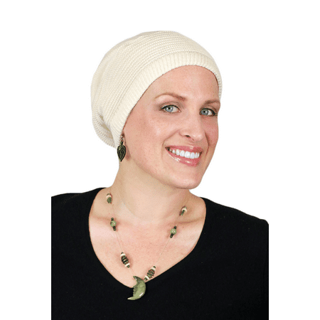 Lily Slouchy Chemo Cap Cotton Knit Beanie (NATURAL)