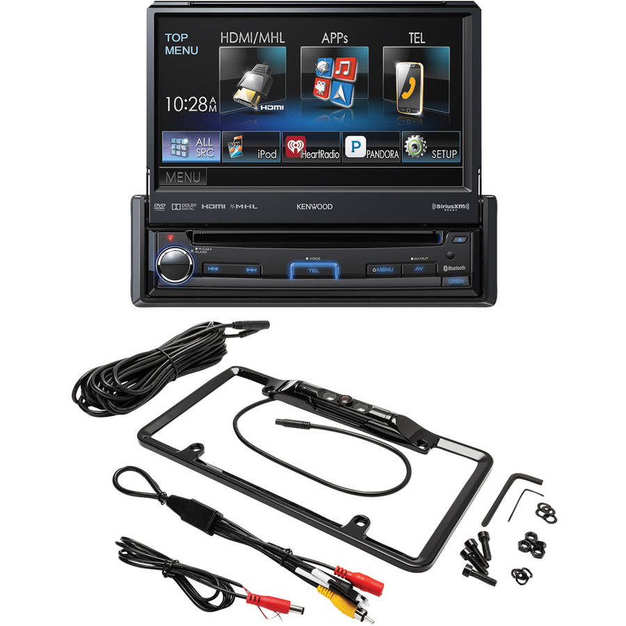 "Kenwood KVT-7012BT 6.95"" Single-DIN In-Dash Motorized LCD Touchscreen DVD Receiver and Crimestopper SV5430B License... by Kenwood"