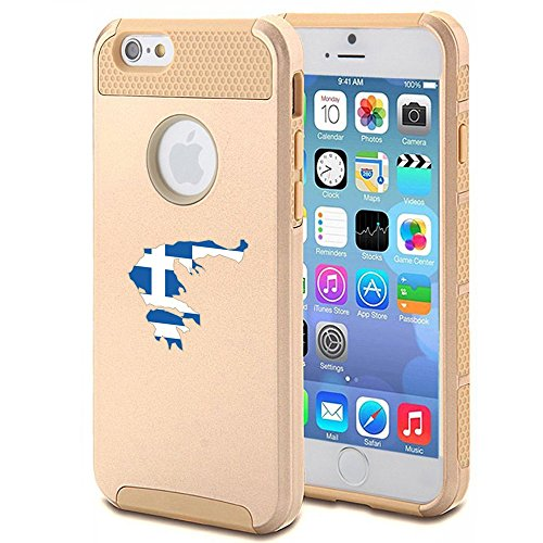 Apple iPhone 6 6s Shockproof Impact Hard Case Cover Greece Greek Flag (Gold...