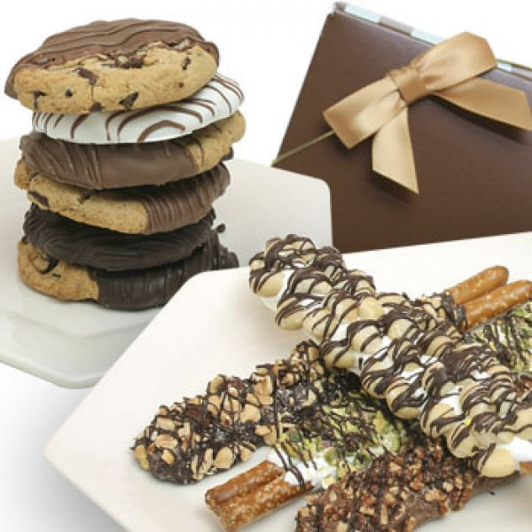 6 Chocolate Covered Pretzels And 6 Gourmet Cookies Gift Box by