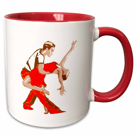 3dRose Print of Cartoon Salsa Couple - Two Tone Red Mug, 11-ounce for $<!---->