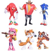 Set of 6pcs Sonic Action Figures, 5-7cm Tall. Collect Sonic, Knuckles, Tails, Amy and Evil Dr. Eggman