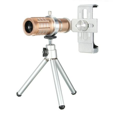 1Set 12x Zoom Telescope Camera Lens Telephoto Kit + Tripod For Universal Mobile Phone Travel Graduation