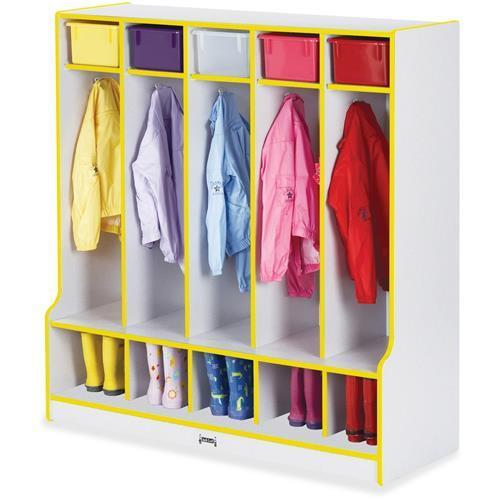 "0468JCWW007 Rainbow Accents Step 5 Section Locker - 50.5"" Height x 48"" Width x 17.5"" Depth - 5 Compartment(s) - Yellow"