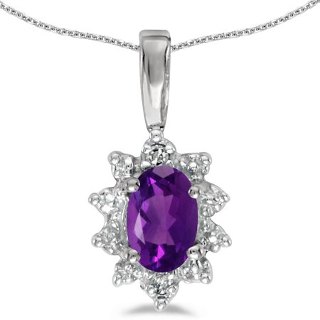 Amethyst Chain Link (14k White Gold Oval Amethyst And Diamond Pendant with 18